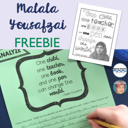 Free Malala Yousafzai coloring pages and quote analysis.