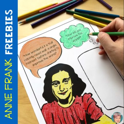Free Anne Frank coloring page for teachers and students.