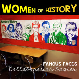 Women's History Month activity. Famous Faces art project that all students can participate in. From Art with Jenny K.