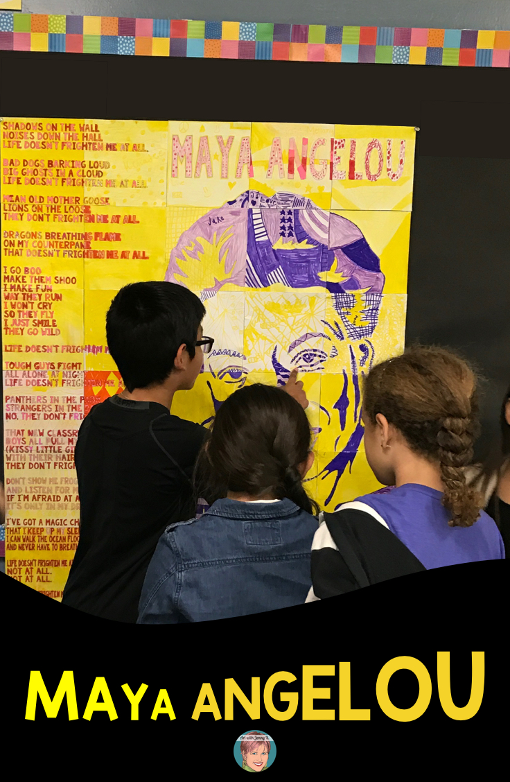 Maya Angelou activities for teachers! Doodle and Do Poet and Poetry study paired with a Maya Angelou collaboration poster - makes the perfect art integration experience for students.