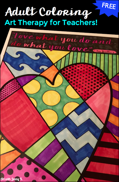 Free Adult Coloring for Teachers - a great therapy to relax!