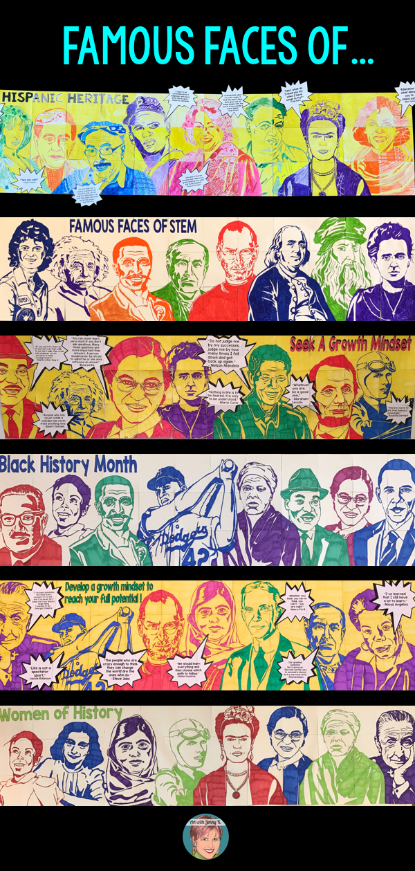 Art with Jenny K. Famous Faces collaboration posters.