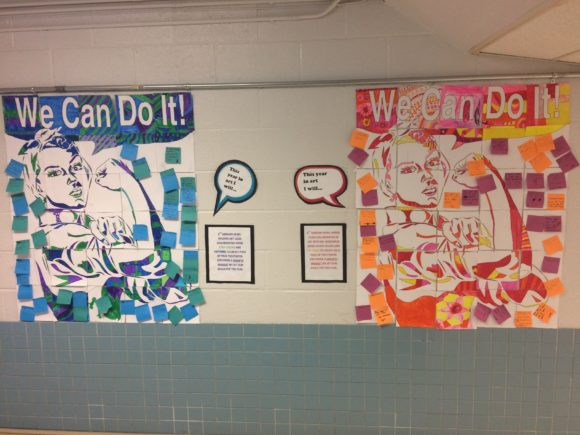 Rosie the Riveter Collaborative Poster Using Monochromatic Patterns