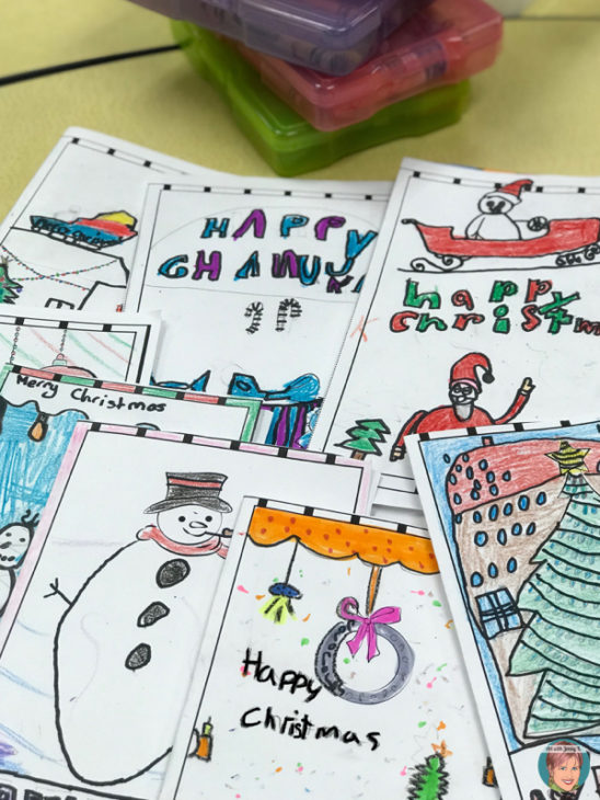 DIY Christmas Cards for Your Classroom. Holiday card stARTers!