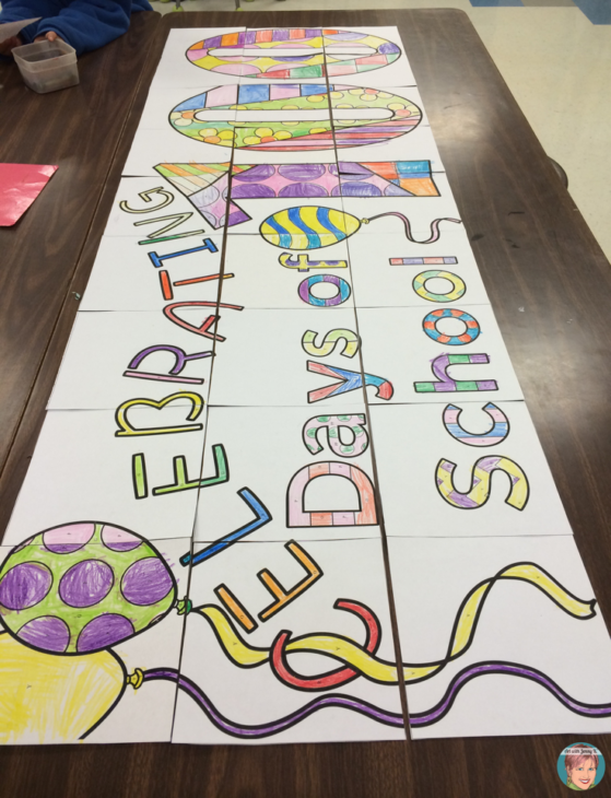 100th Day of School Activities - Collaboration classroom banner poster.