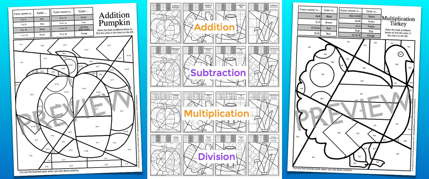 Thanksgiving math resource art with jenny k i have included addition up to 20 subtraction from as high as 25 and multiplication and division that review all the times tables from the 2s to the 9s gamestrikefo Image collections